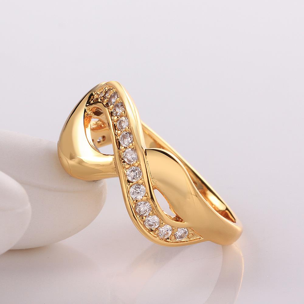 Wholesale Trendy 24K Gold Round White CZ Ring TGGPR758 4