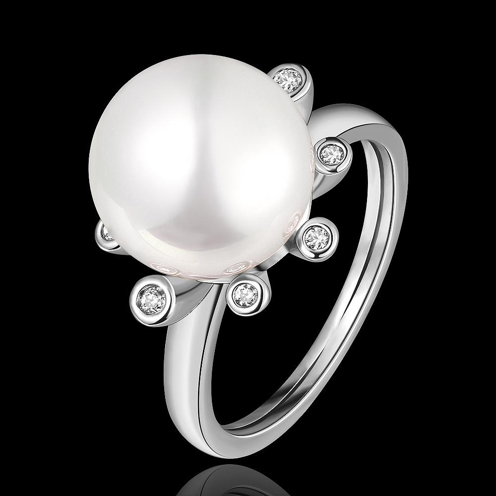 Wholesale Romantic Platinum Round White pearl Ring TGGPR852 0