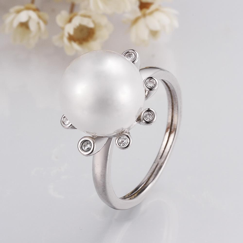 Wholesale Romantic Platinum Round White pearl Ring TGGPR852 2