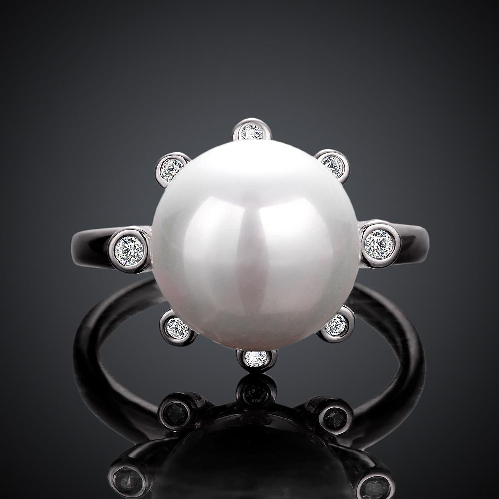 Wholesale Romantic Platinum Round White pearl Ring TGGPR852 3