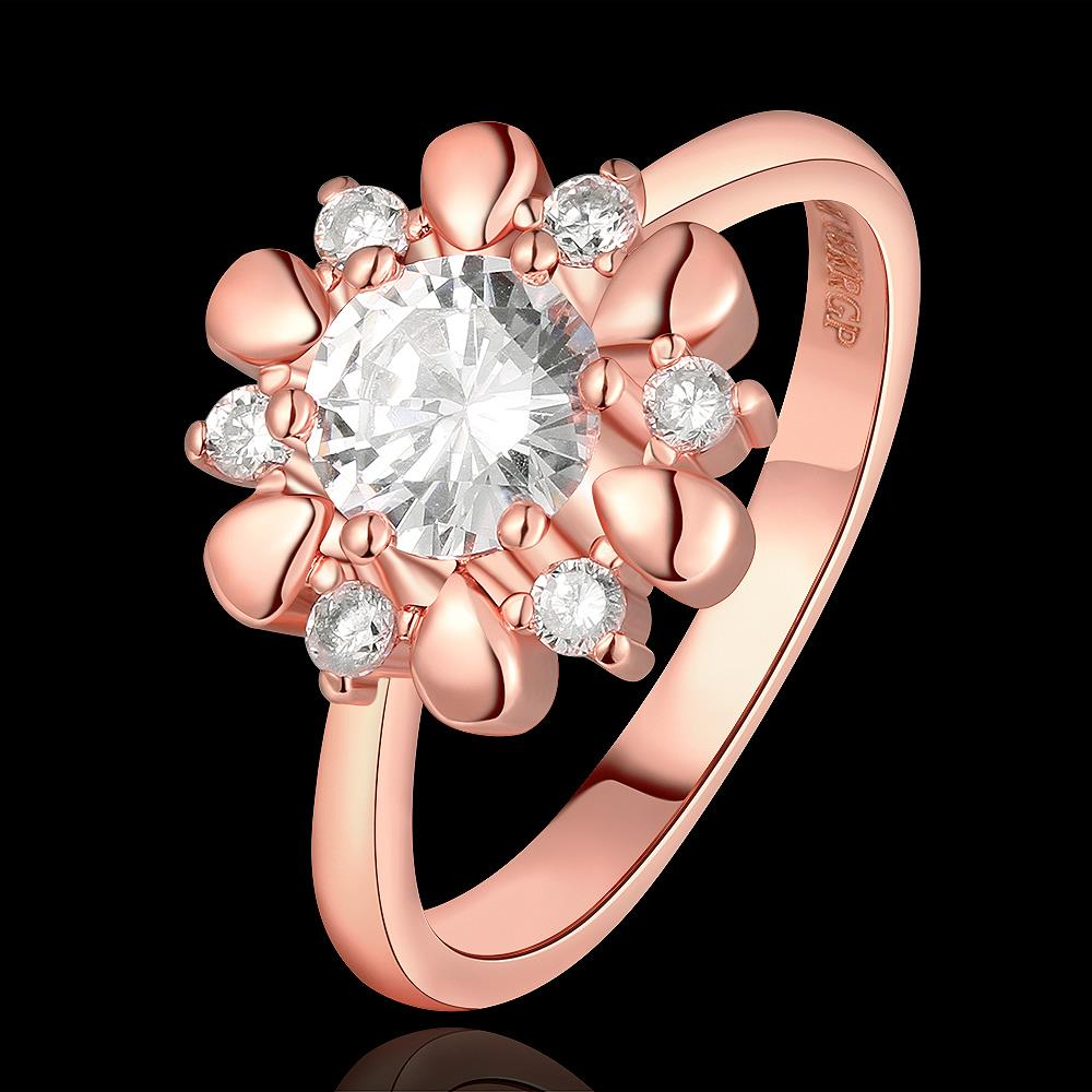 Wholesale Romantic Rose Gold Plant White CZ Ring TGGPR864 0