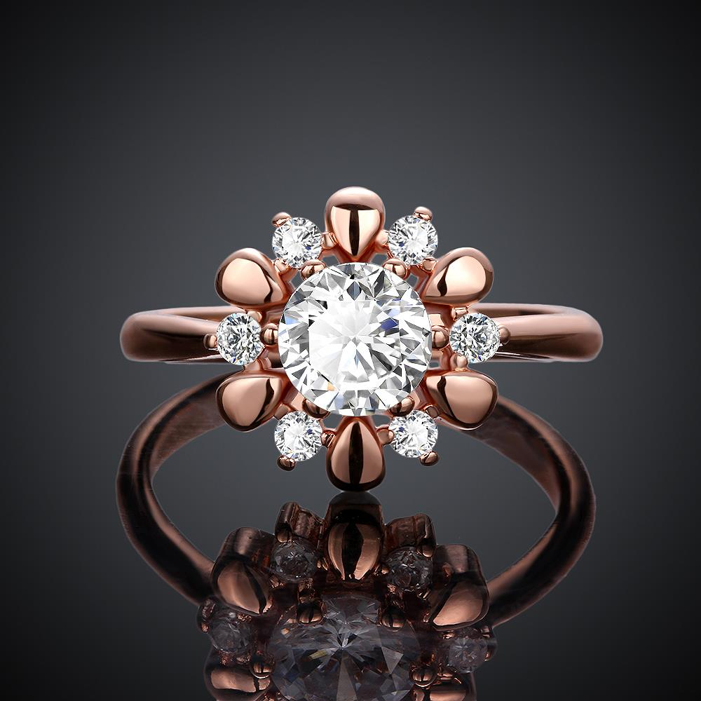 Wholesale Romantic Rose Gold Plant White CZ Ring TGGPR864 1