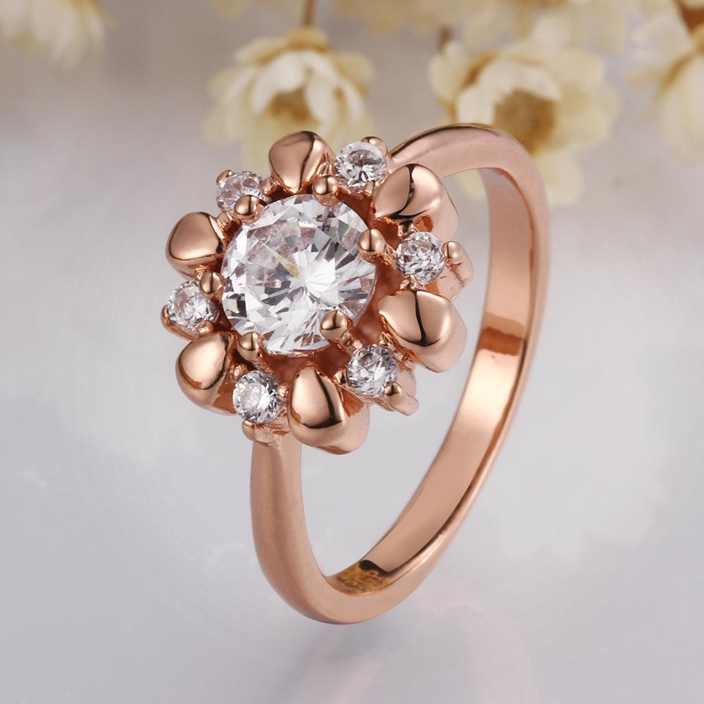 Wholesale Romantic Rose Gold Plant White CZ Ring TGGPR864 3