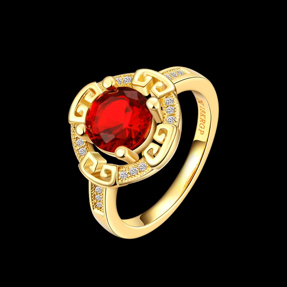 Wholesale Romantic 24K Gold Round Red CZ Ring TGGPR1150 0