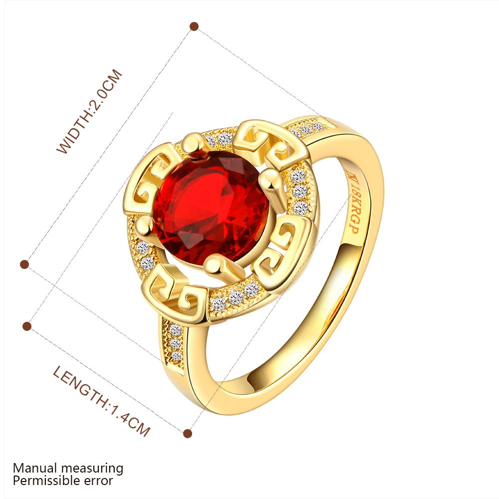 Wholesale Romantic 24K Gold Round Red CZ Ring TGGPR1150 1