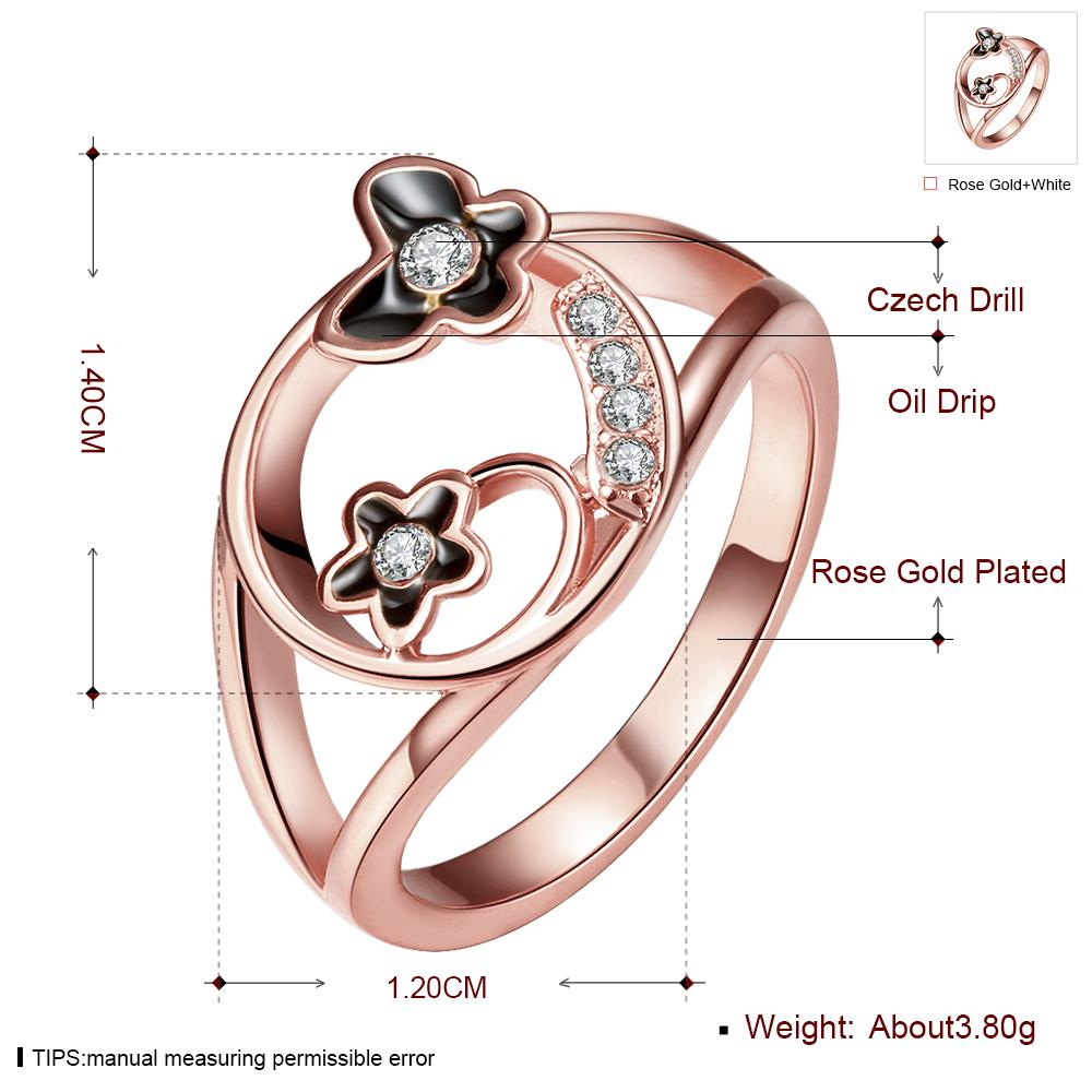 Wholesale Romantic Rose Gold Plant White Rhinestone Ring TGGPR1260 0