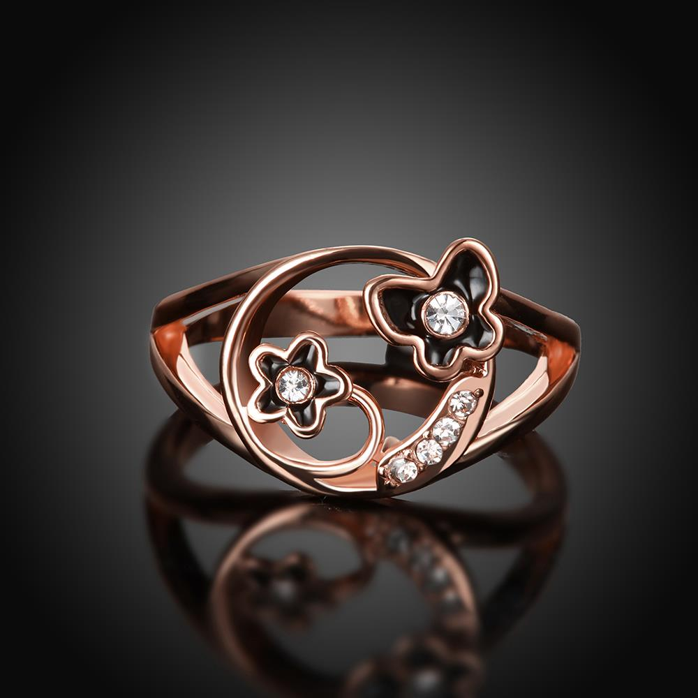 Wholesale Romantic Rose Gold Plant White Rhinestone Ring TGGPR1260 1