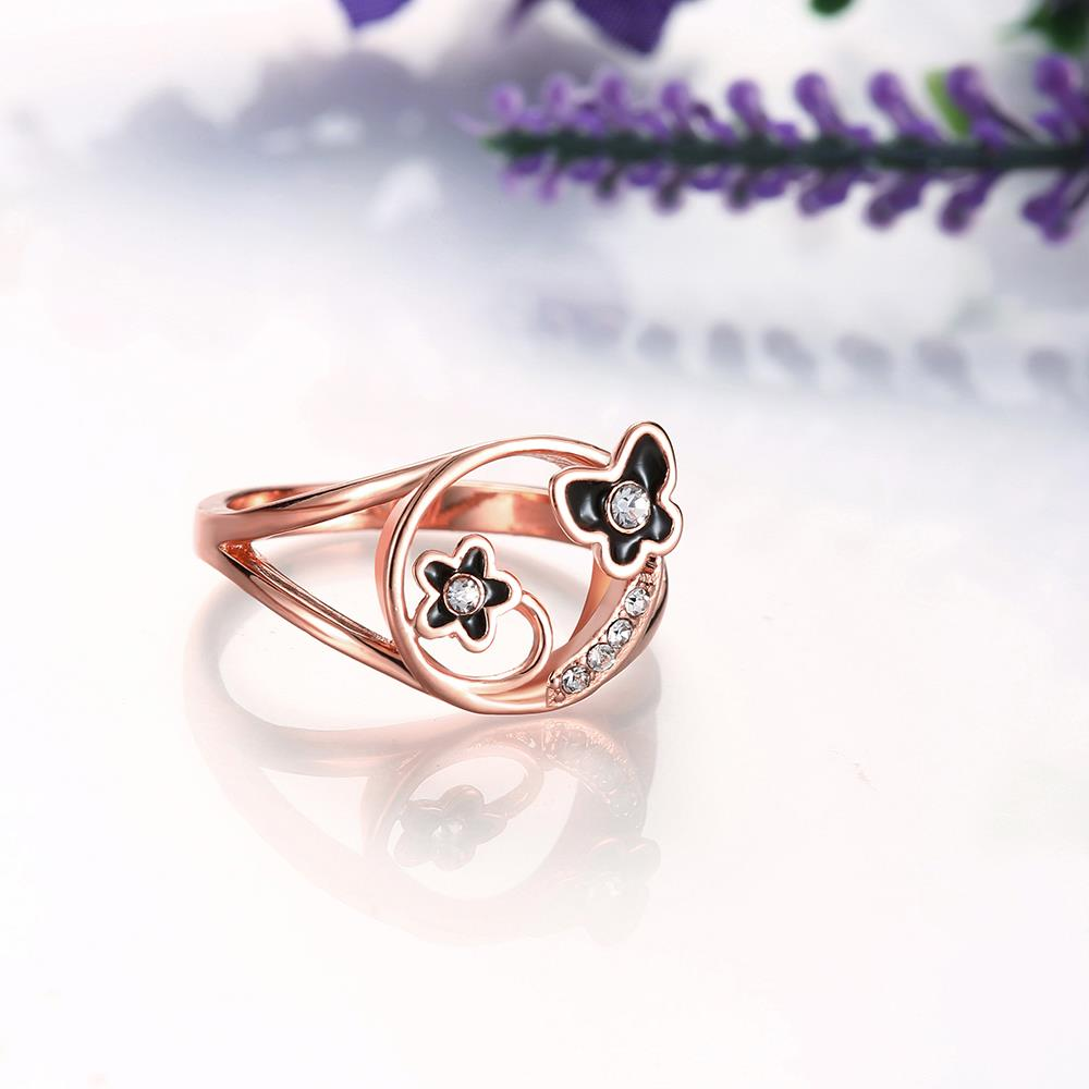 Wholesale Romantic Rose Gold Plant White Rhinestone Ring TGGPR1260 2