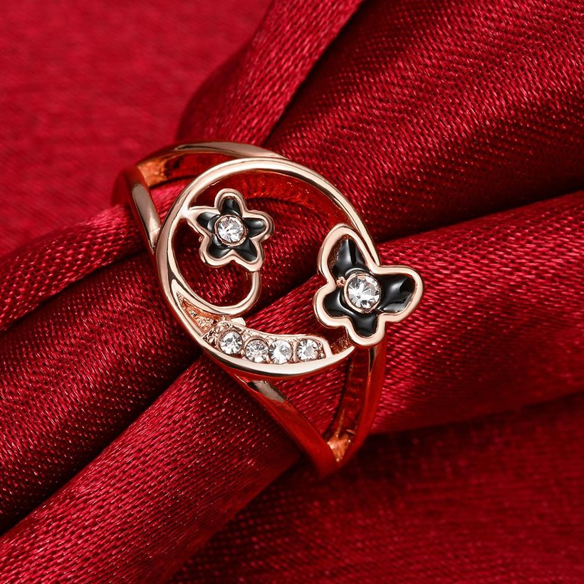Wholesale Romantic Rose Gold Plant White Rhinestone Ring TGGPR1260 3
