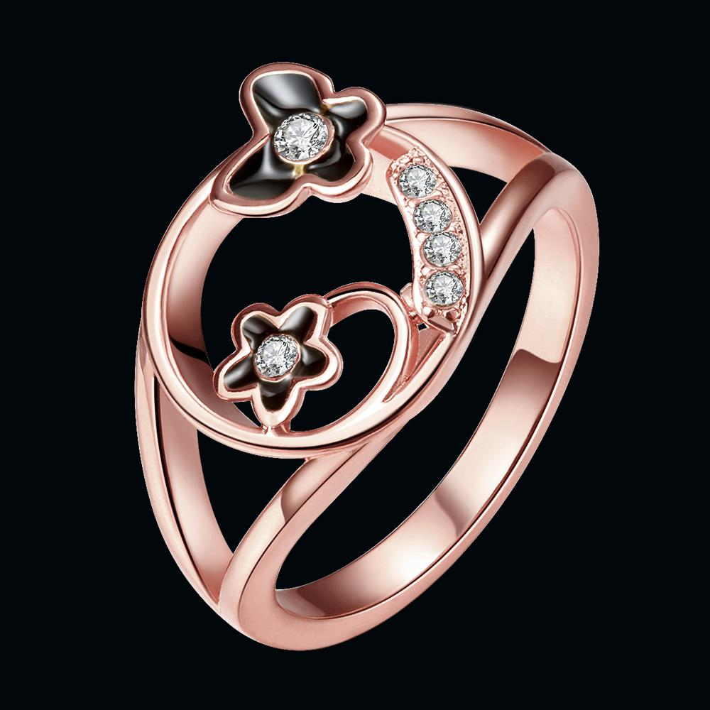 Wholesale Romantic Rose Gold Plant White Rhinestone Ring TGGPR1260 4