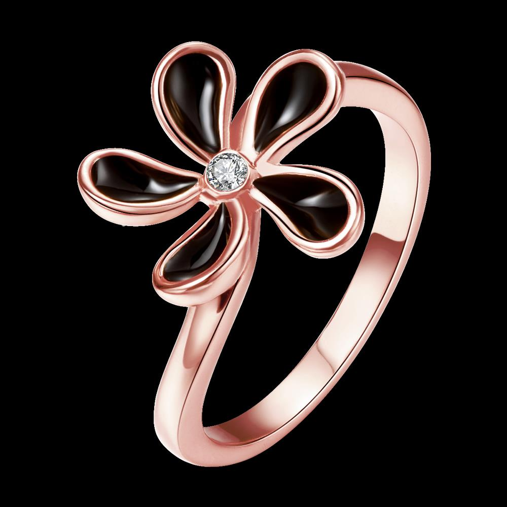 Wholesale Romantic Rose Gold Plant White Rhinestone Ring TGGPR1383 0
