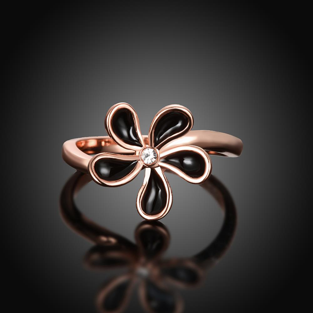 Wholesale Romantic Rose Gold Plant White Rhinestone Ring TGGPR1383 2