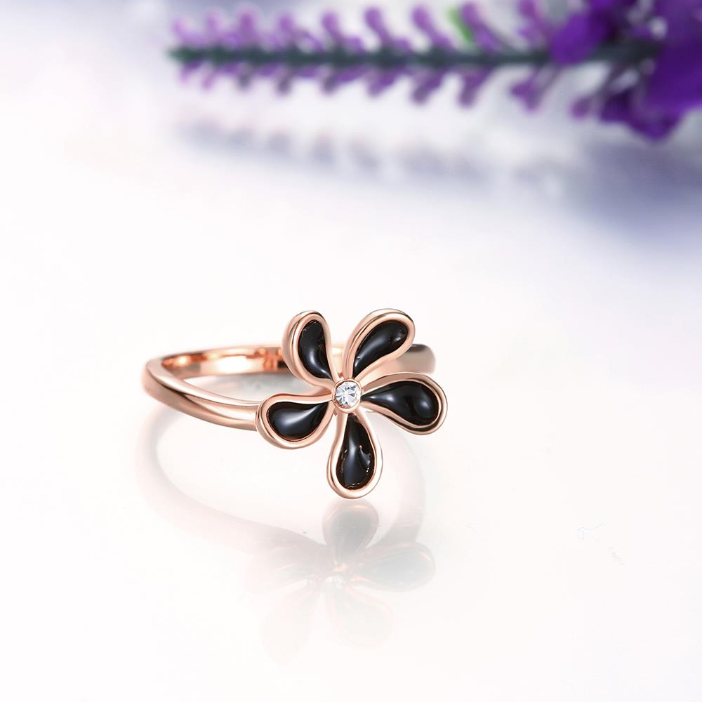 Wholesale Romantic Rose Gold Plant White Rhinestone Ring TGGPR1383 3