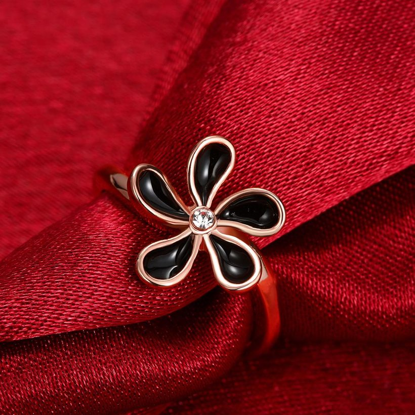 Wholesale Romantic Rose Gold Plant White Rhinestone Ring TGGPR1383 4