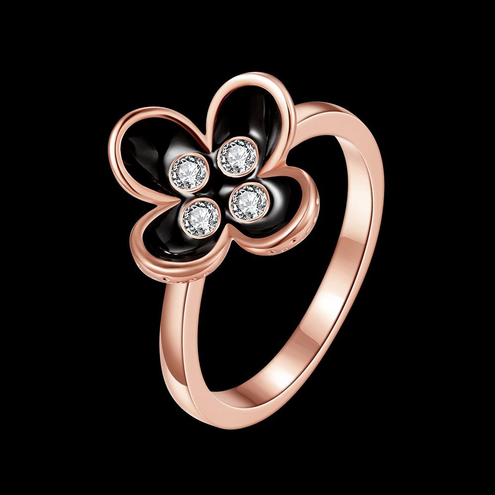 Wholesale Bohemia Rose Gold Plant White Rhinestone Ring TGGPR1398 1