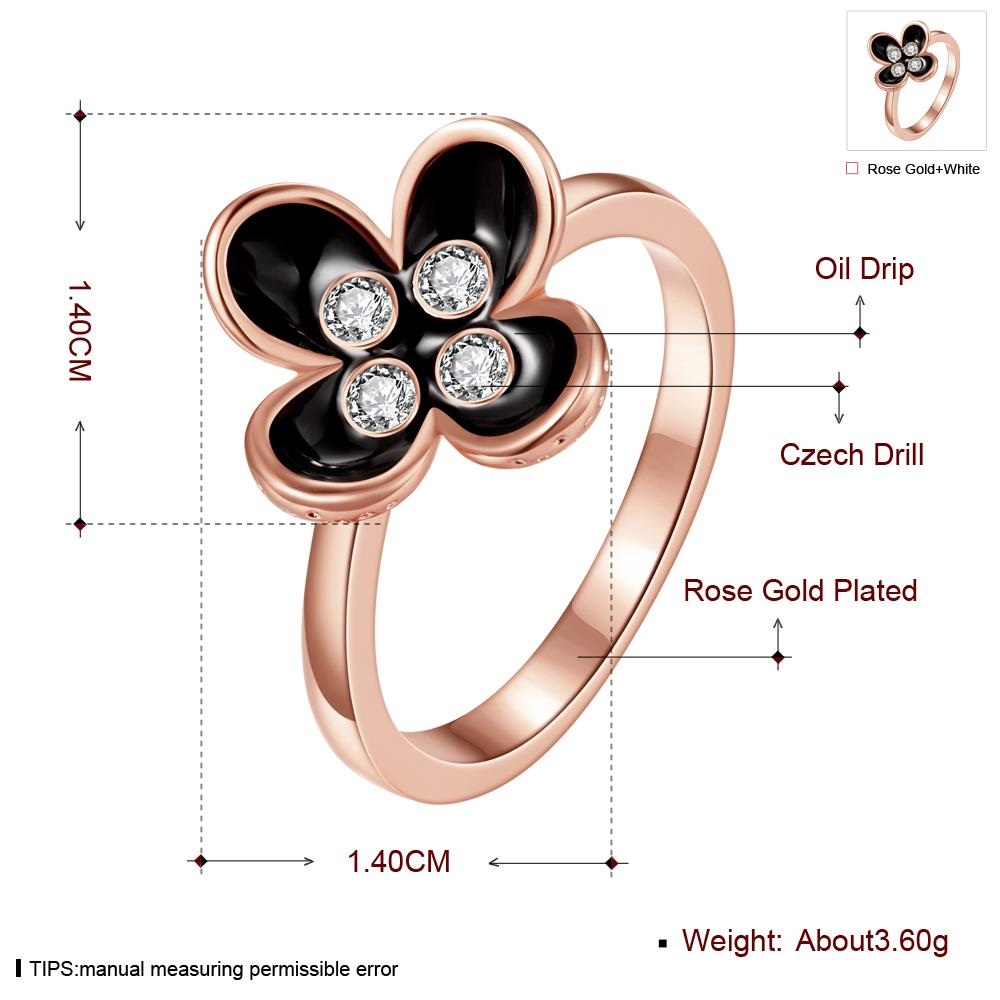 Wholesale Bohemia Rose Gold Plant White Rhinestone Ring TGGPR1398 2