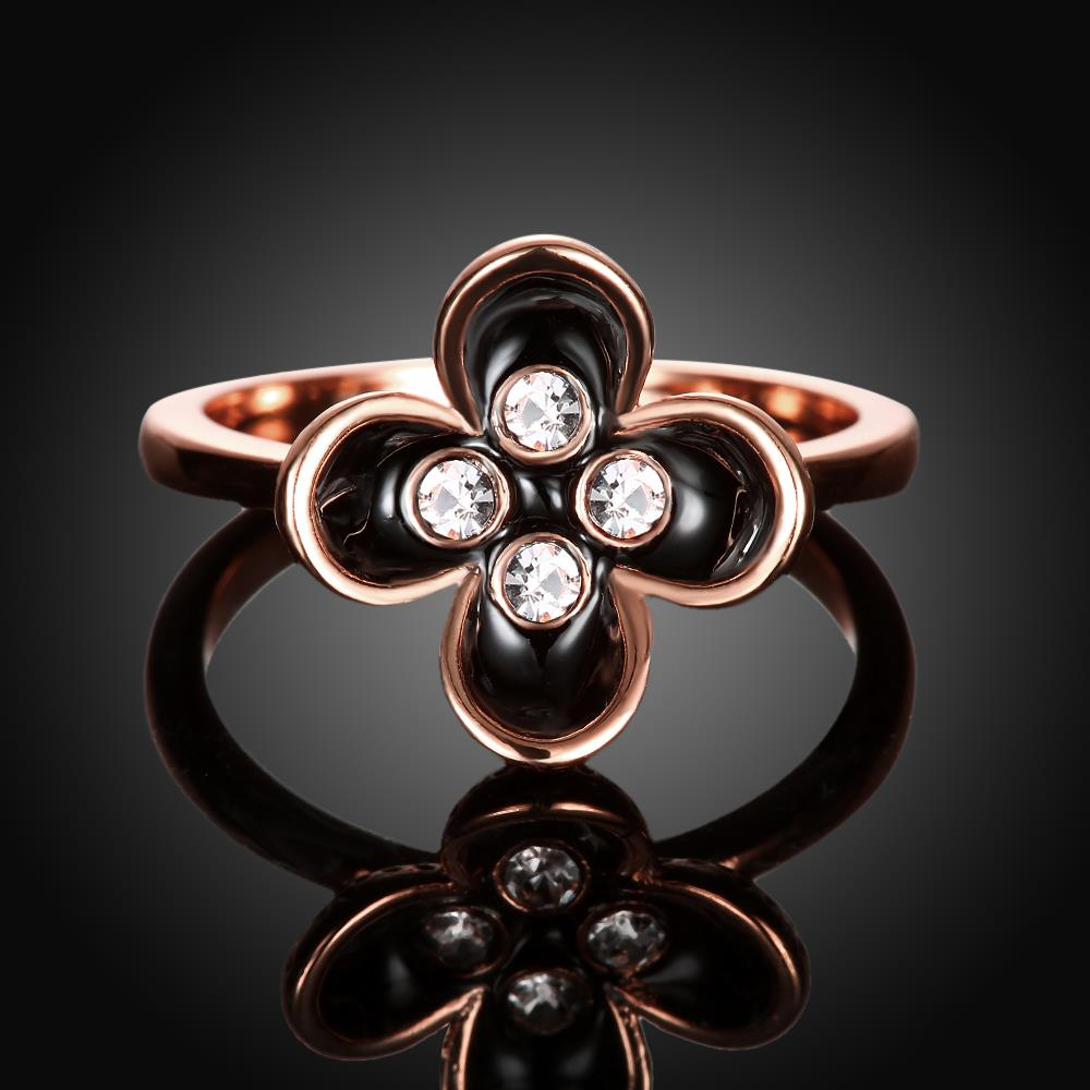 Wholesale Bohemia Rose Gold Plant White Rhinestone Ring TGGPR1398 3