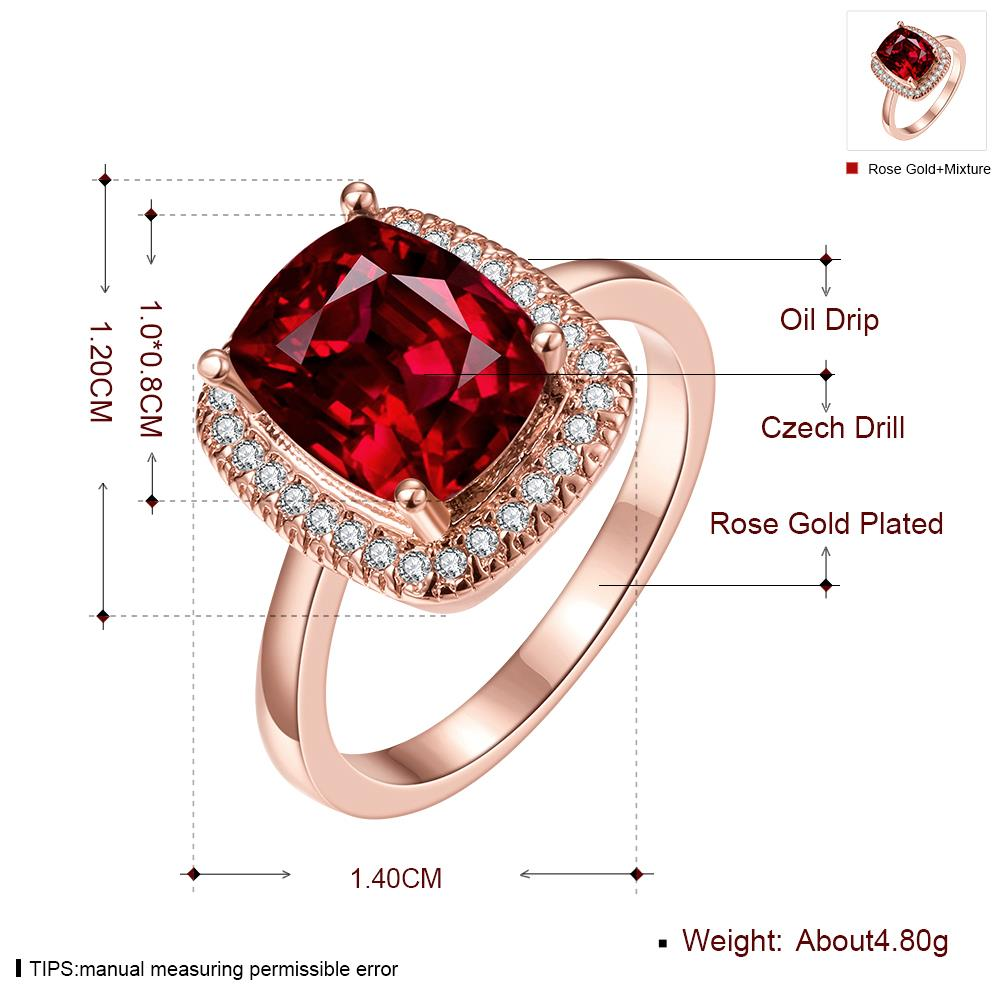 Wholesale Classic Rose Gold Geometric Multicolor CZ Ring TGGPR1443 1
