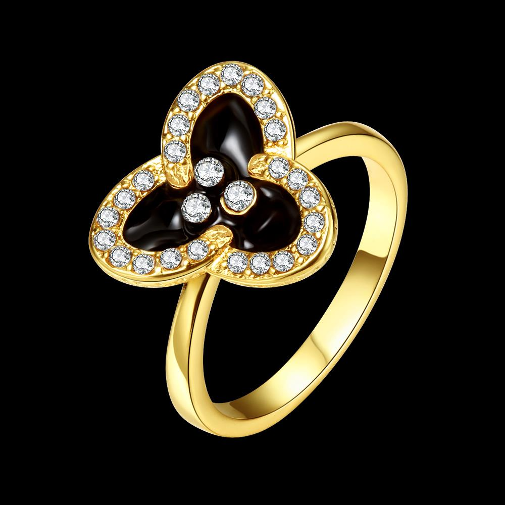 Wholesale Romantic 24K Gold Plant White Rhinestone Ring TGGPR1457 0