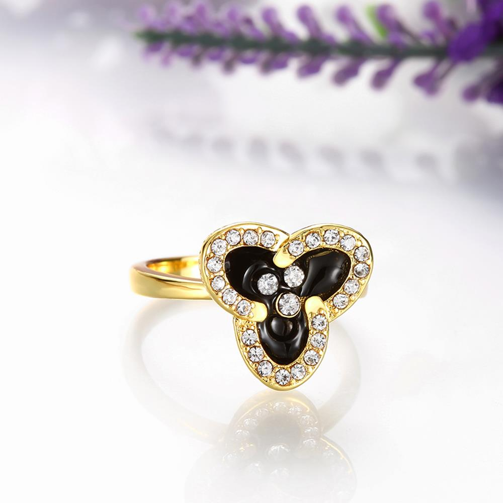 Wholesale Romantic 24K Gold Plant White Rhinestone Ring TGGPR1457 1
