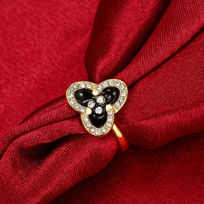 Wholesale Romantic 24K Gold Plant White Rhinestone Ring TGGPR1457 2
