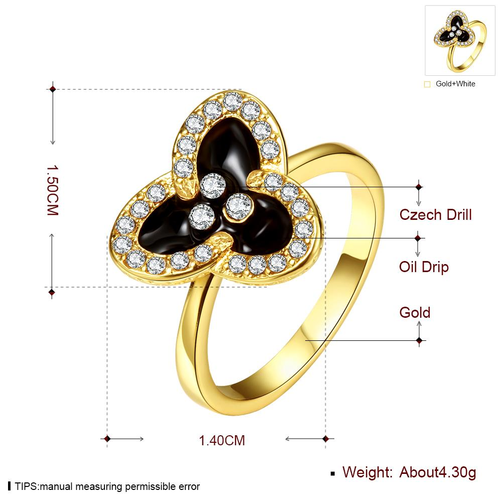 Wholesale Romantic 24K Gold Plant White Rhinestone Ring TGGPR1457 4