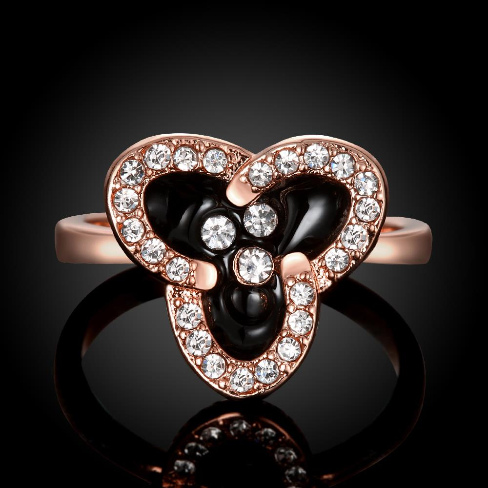 Wholesale Romantic Rose Gold Plant White Rhinestone Ring TGGPR1464 3