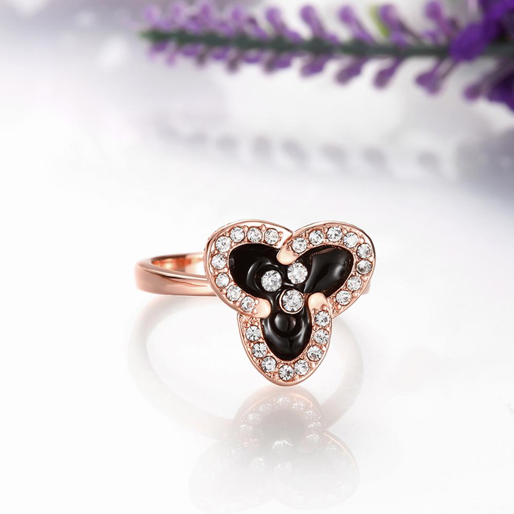 Wholesale Romantic Rose Gold Plant White Rhinestone Ring TGGPR1464 4