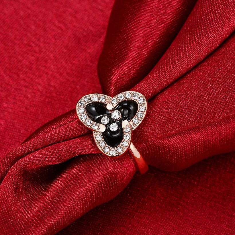 Wholesale Romantic Rose Gold Plant White Rhinestone Ring TGGPR1464 5