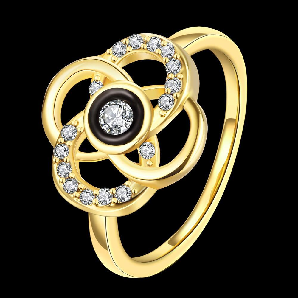 Wholesale Classic 24K Gold Plant White Rhinestone Ring TGGPR1493 0