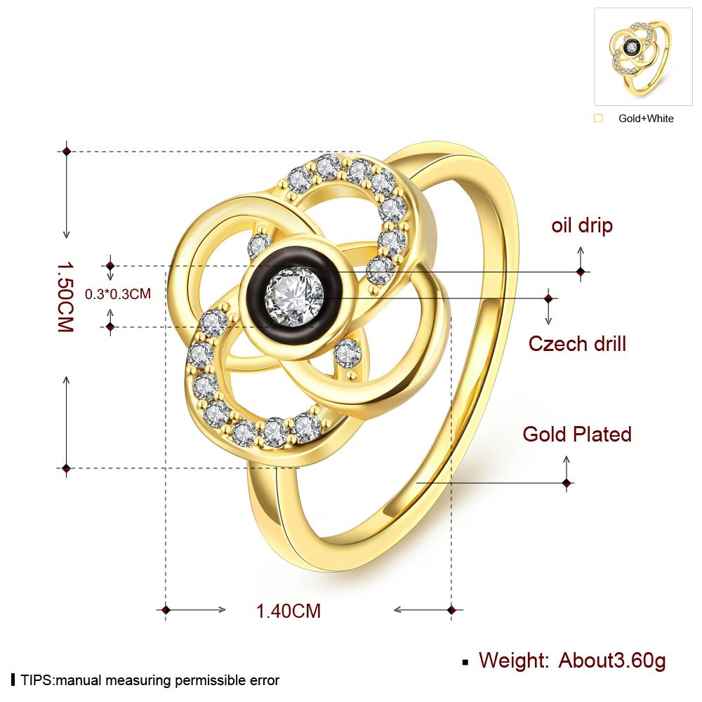 Wholesale Classic 24K Gold Plant White Rhinestone Ring TGGPR1493 1