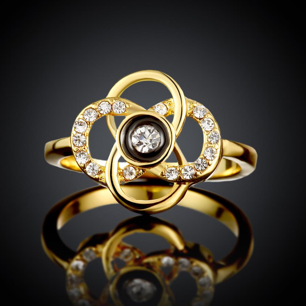 Wholesale Classic 24K Gold Plant White Rhinestone Ring TGGPR1493 2