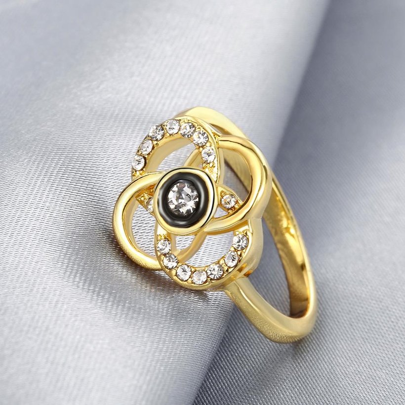 Wholesale Classic 24K Gold Plant White Rhinestone Ring TGGPR1493 3