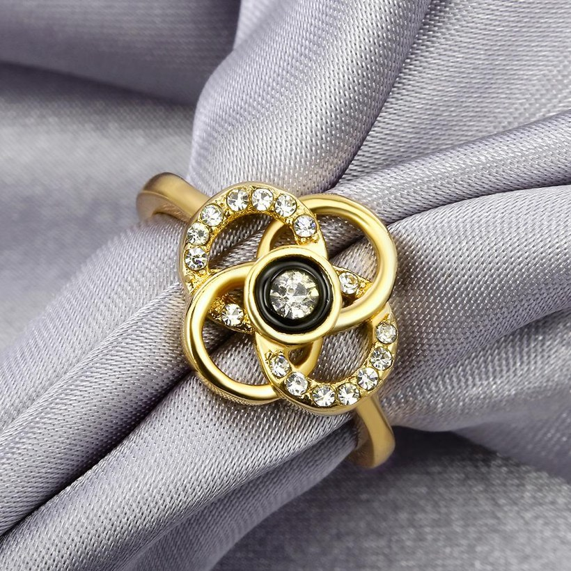 Wholesale Classic 24K Gold Plant White Rhinestone Ring TGGPR1493 4