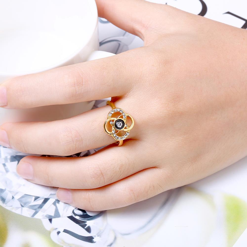 Wholesale Classic 24K Gold Plant White Rhinestone Ring TGGPR1493 5