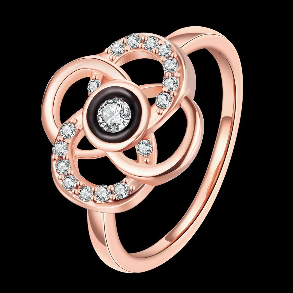 Wholesale Classic Rose Gold Plant White Rhinestone Ring TGGPR1500 0