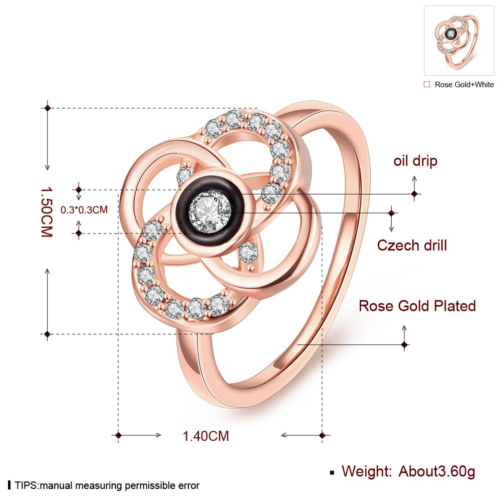 Wholesale Classic Rose Gold Plant White Rhinestone Ring TGGPR1500 1