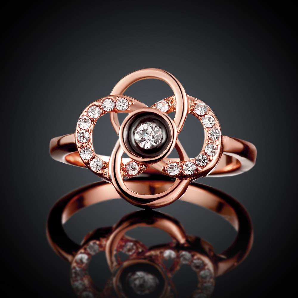 Wholesale Classic Rose Gold Plant White Rhinestone Ring TGGPR1500 2