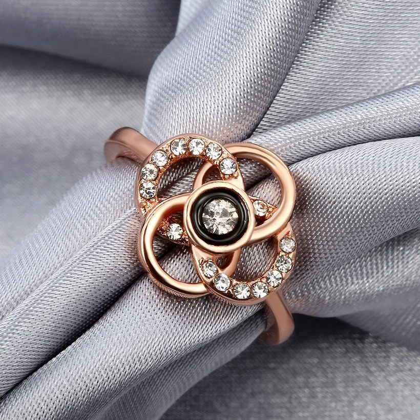 Wholesale Classic Rose Gold Plant White Rhinestone Ring TGGPR1500 4