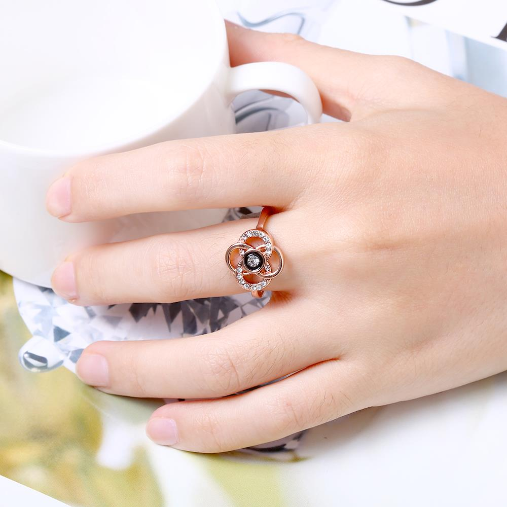 Wholesale Classic Rose Gold Plant White Rhinestone Ring TGGPR1500 5