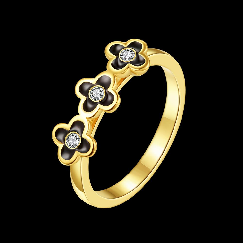 Wholesale Bohemia 24K Gold Plant White Rhinestone Ring TGGPR295 0