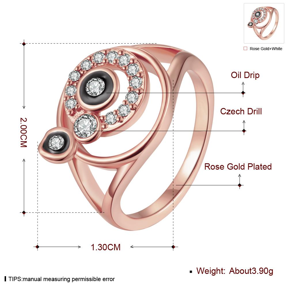 Wholesale Bohemia Rose Gold Round White Rhinestone Ring TGGPR346 1