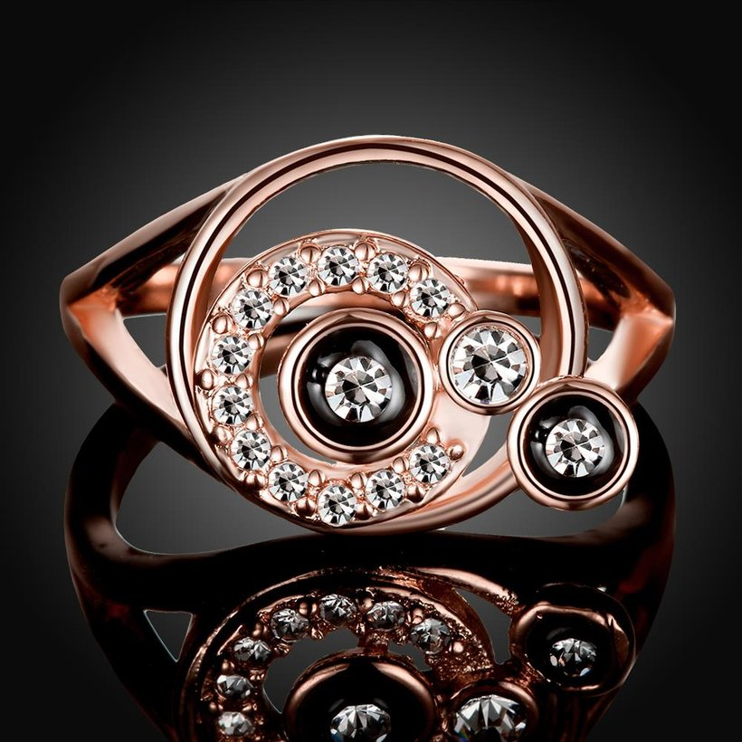 Wholesale Bohemia Rose Gold Round White Rhinestone Ring TGGPR346 2