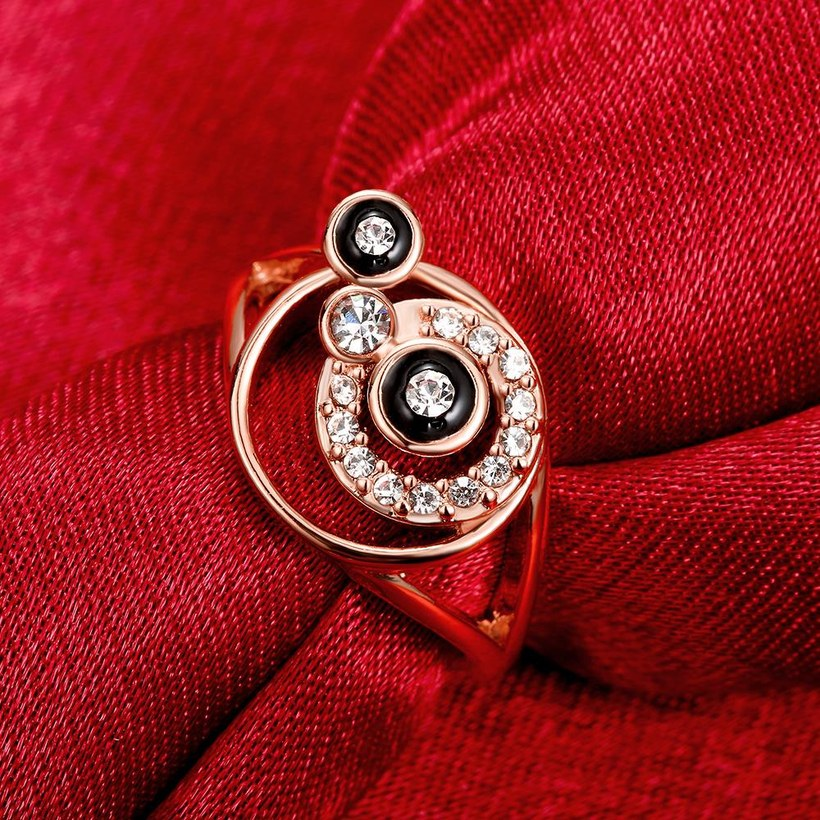 Wholesale Bohemia Rose Gold Round White Rhinestone Ring TGGPR346 4