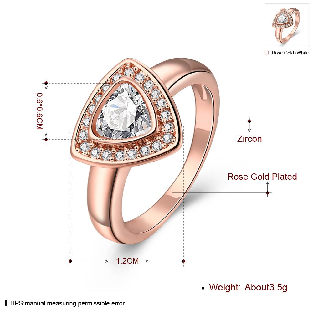 Wholesale Classic Rose Gold Geometric Multicolor CZ Ring TGGPR387 3