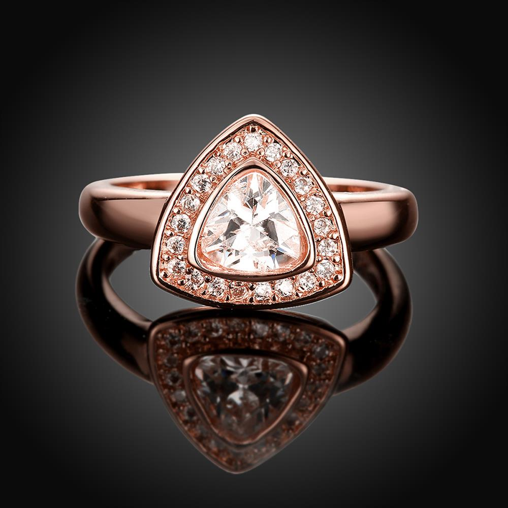 Wholesale Classic Rose Gold Geometric Multicolor CZ Ring TGGPR387 4