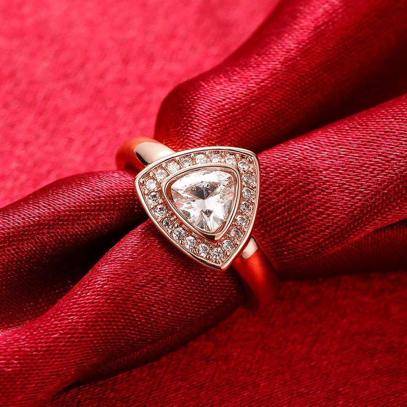 Wholesale Classic Rose Gold Geometric Multicolor CZ Ring TGGPR387 5