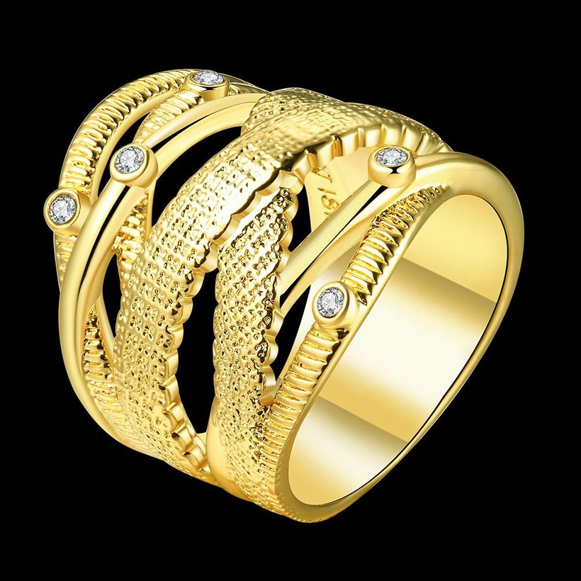 Wholesale Classic 24K Gold Geometric White Rhinestone Ring TGGPR473 0