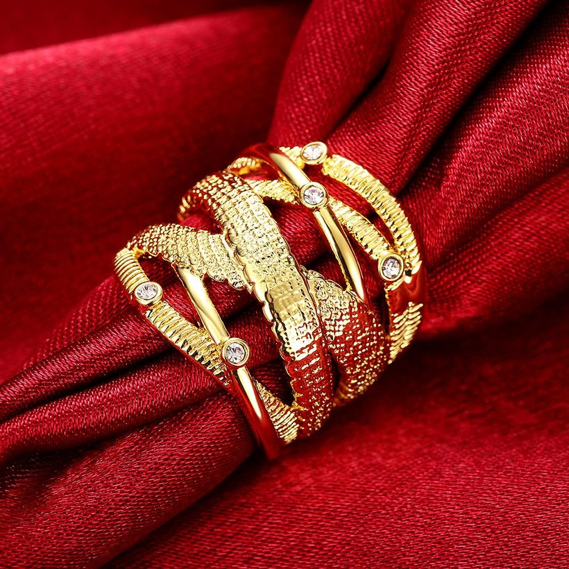 Wholesale Classic 24K Gold Geometric White Rhinestone Ring TGGPR473 4