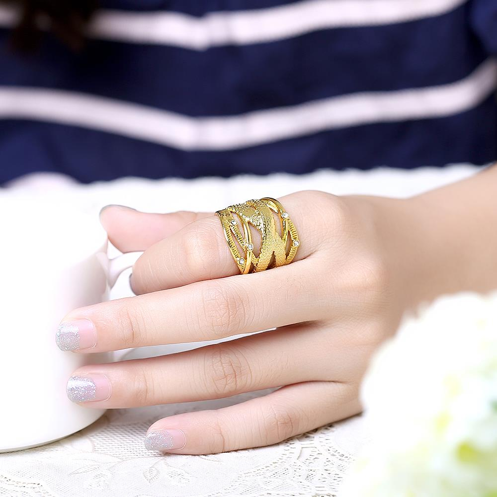 Wholesale Classic 24K Gold Geometric White Rhinestone Ring TGGPR473 5